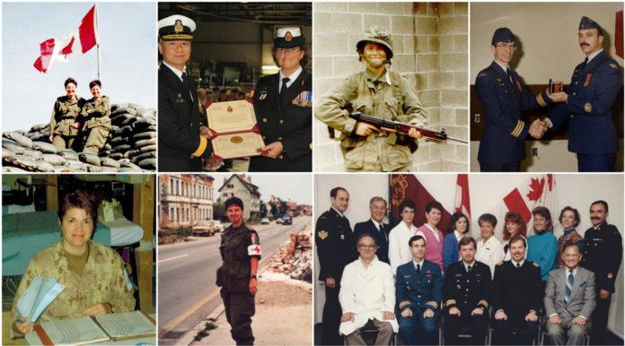Collage présentant des employés qui ont été dans les Forces armées.