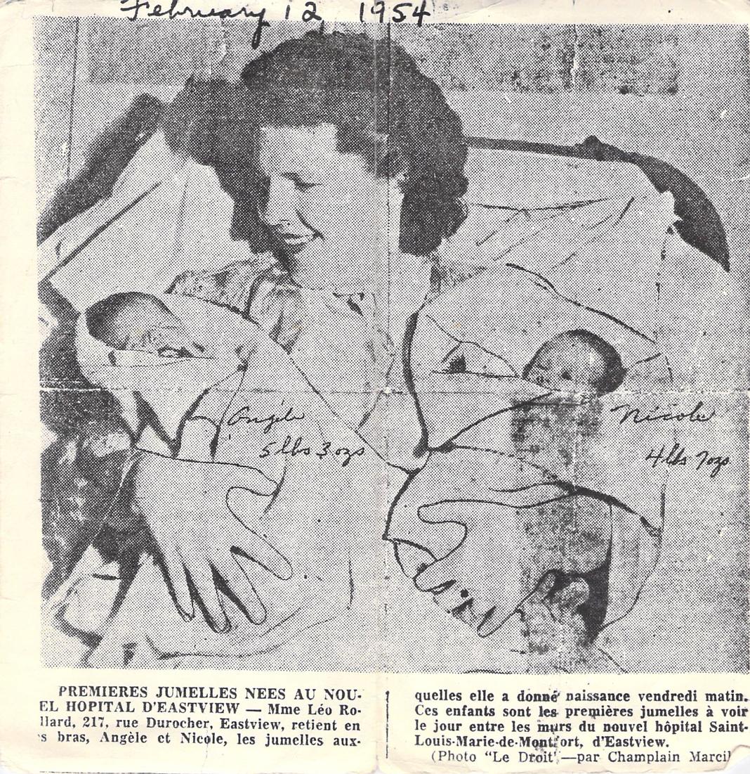 Coupure du journal Le Droit en 1954