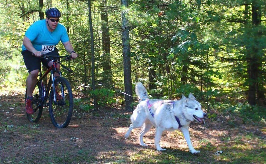 MCpl Lavoie en vélo avec un de ses chiens
