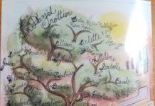 Une peinture d'un arbre, du logo Montfort et de gens qui marchent avec des noms