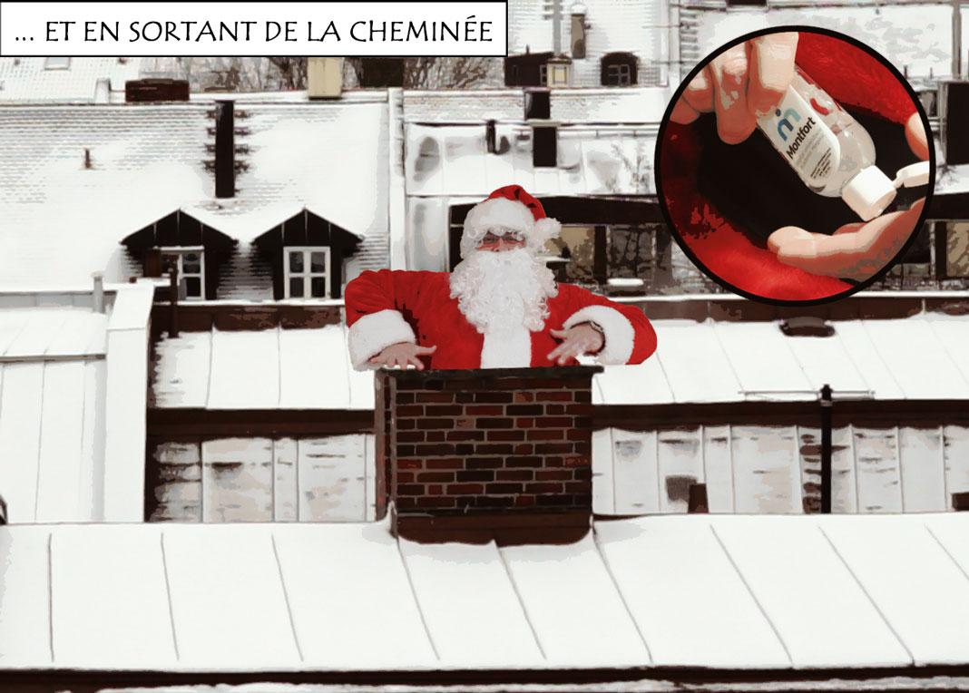 Père Noël qui sort d'une cheminée