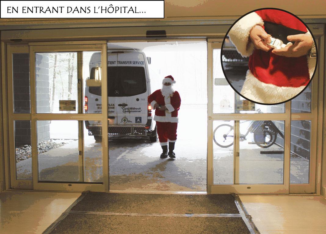 Père Noël qui entre dans l'hôpital et se lave les mains