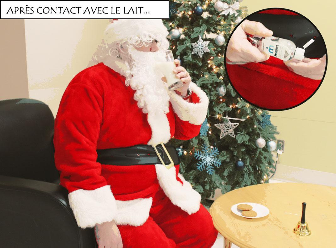 Père Noël qui boit un verre de lait